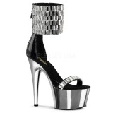 High Heels Glitzersteine 18 cm ADORE-789RS Chrome Plateau