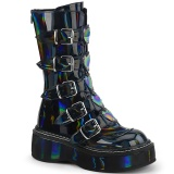 Hologram 5 cm EMILY-330 womens buckle boots with platform