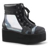 Hologram 7 cm Demonia GRIP-102 gothic platform ankle boots