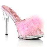 Kunstleder 12,5 cm GLORY-501F-8 Rosa high heels mules mit federn