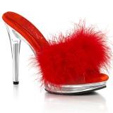 Kunstleder 12,5 cm GLORY-501F-8 Rote high heels mules mit federn