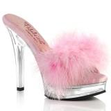 Kunstleder 13,5 cm MAJESTY-501F-8 Rosa high heels mules mit federn