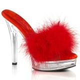 Kunstleder 13,5 cm MAJESTY-501F-8 Rote high heels mules mit federn