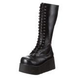 Kunstleder 8,5 cm TRASHVILLE-502 Schwarze punk stiefel mit schnürung herren