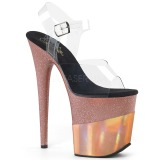 Kupfer 20 cm FLAMINGO-808-2HGM glitter plateau sandaletten
