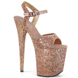 Kupfer 20 cm FLAMINGO-810LG glitter plateau high heels