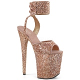 Kupfer Glitzern 20 cm Pleaser FLAMINGO-891LG Plateau High Heels