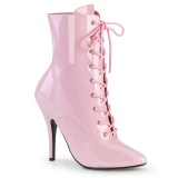 Lackleder 13 cm SEDUCE-1020 Rosa high heels stiefeletten