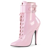 Lackleder 15 cm DOMINA-1023 Rosa high heels stiefeletten