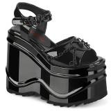 Lackleder 15 cm Demonia WAVE-09 lolita plateau wedge sandaletten