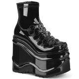 Lackleder 15 cm WAVE-110 platform wedge ankle booties