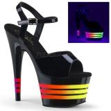 Lackleder 18 cm ADORE-709UVLN2 Sandaletten mit Neon Plateau