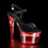 Lackleder 18 cm FLASHDANCE-709 stripper sandaletten mit LED licht