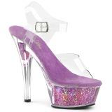 Lavendel 15 cm KISS-208GF glitter plateau sandaletten
