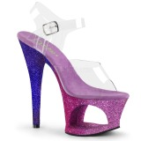 Lavendel glitter 18 cm Pleaser MOON-708OMBRE pole dance high heels schuhe