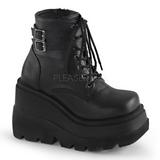 Leatherette 11,5 cm SHAKER-52 lolita ankle boots goth wedge platform