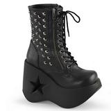 Leatherette 13 cm DYNAMITE-100 lolita ankle boots goth wedge platform