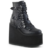 Leatherette 14 cm SWING-103 goth ankle boots wedge platform