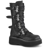 Leatherette 5 cm EMILY-322 womens buckle boots with platform