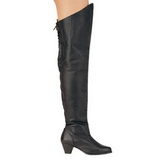 Leder 6,5 cm MAIDEN-8828 Overknees Stiefel Flacher Heels