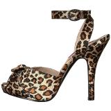 Leopard Satin 12,5 cm EVE-01 grosse grössen sandaletten damen