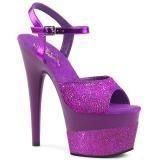 Lila 18 cm ADORE-709-2G glitter plateau sandaletten