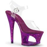 Lila 18 cm MOON-708LG glitter plateau high heels