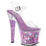 Lila 18 cm RADIANT-708BHG Hologramm plateau high heels