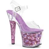 Lila 18 cm RADIANT-708HHG Hologramm plateau high heels