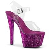 Lila 18 cm SKY-308LG glitter plateau high heels