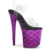 Lila 20 cm FLAMINGO-808MSLG glitter plateau sandaletten