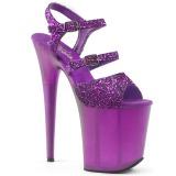 Lila 20 cm FLAMINGO-874 glitter plateau sandaletten