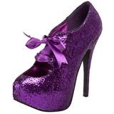 Lila Glitter 14,5 cm Burlesque TEEZE-10G Platform Pumps Schuhe