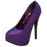 Lila Glitter 14,5 cm Burlesque TEEZE-31G Platform Pumps Schuhe