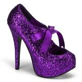 Lila Glitter 14,5 cm TEEZE-10G Platform Pumps Schuhe