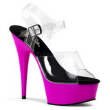 Lila Neon 15,5 cm DELIGHT-608UV Plateau High Heels