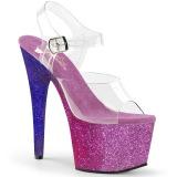 Lila glitter 18 cm Pleaser ADORE-708OMBRE pole dance high heels schuhe