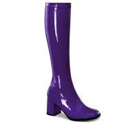 Lila lackstiefel blockabsatz 7,5 cm - 70er jahre hippie disco kniehohe boots gogo
