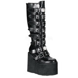 Matte 14 cm SWING-815 womens buckle boots with platform