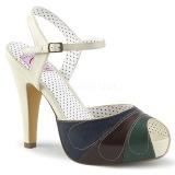 Mehrfarbig 11,5 cm retro vintage BETTIE-27 Pinup sandaletten mit verstecktem plateau