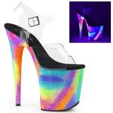 Mehrfarbig 20 cm FLAMINGO-808GXY Sandaletten mit Neon Plateau