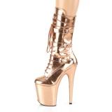 Metallic 20 cm FLAMINGO-1053 exotic platform stiefel mit schnalle gold