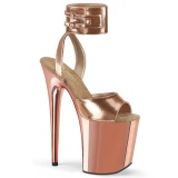 Metallic 20 cm FLAMINGO-891 pleaser high heels mit knöchelriemen