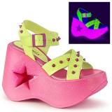 Neon 13 cm Demonia DYNAMITE-02 lolita schuhe wedge sandaletten