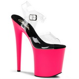 Neon Pink 20 cm Pleaser FLAMINGO-808UV Plateau High Heel