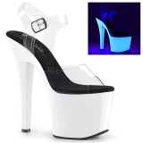 Neon Weiss 18 cm Pleaser RADIANT-708UV Plateau High Heel