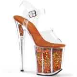 Orange 20 cm FLAMINGO-808GF glitter plateau high heels