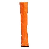 Orange 7,5 cm GOGO-300 lackstiefel mit blockabsatz - disco stiefel 70er jahre