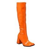 Orange Lack 8,5 cm GOGO-300 High Heels Damenstiefel für Männer