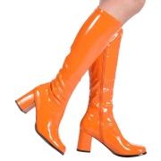 Orange lackstiefel blockabsatz 7,5 cm - 70er jahre hippie disco kniehohe boots gogo